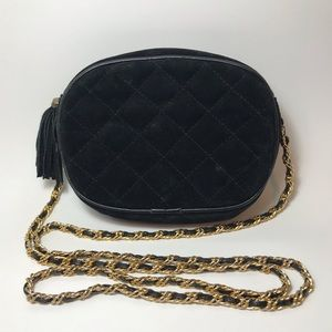 Vintage Quilted Velvet Purse with Gold Chain Strap